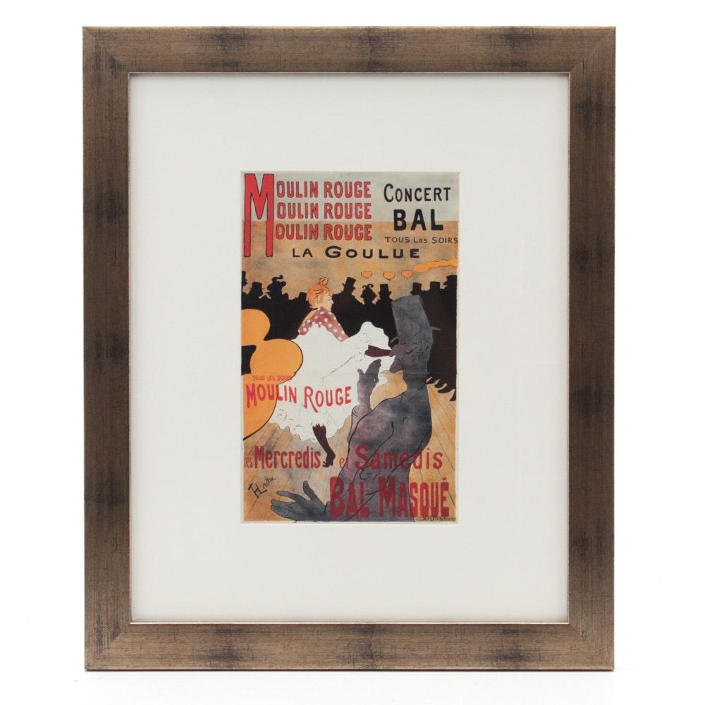 """Toulouse-Lautrec """"La Goulue"""" Offset Lithograph After Poster for Moulin Rouge"""