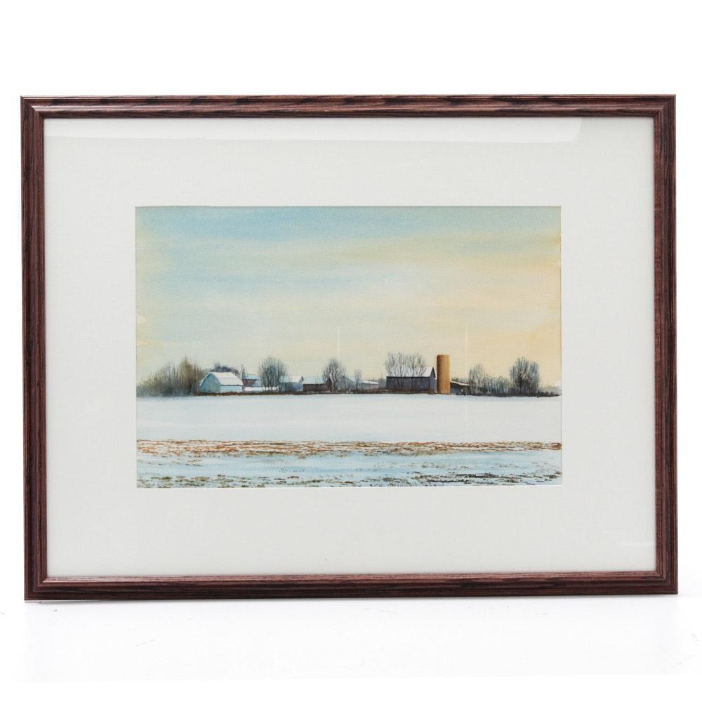 James DeVore Watercolor Pastoral Landscape