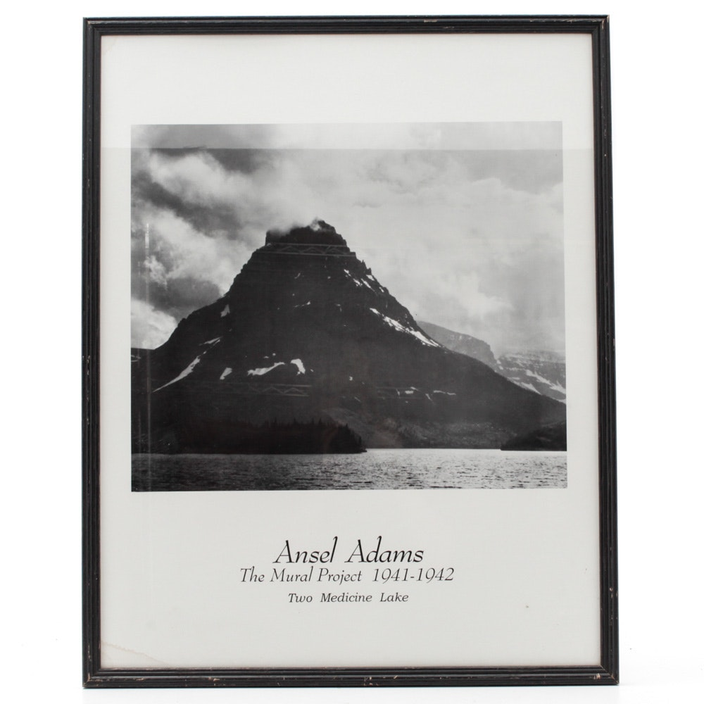 """Lithograph After Ansel Adams """"Two Medicine Lake"""""""