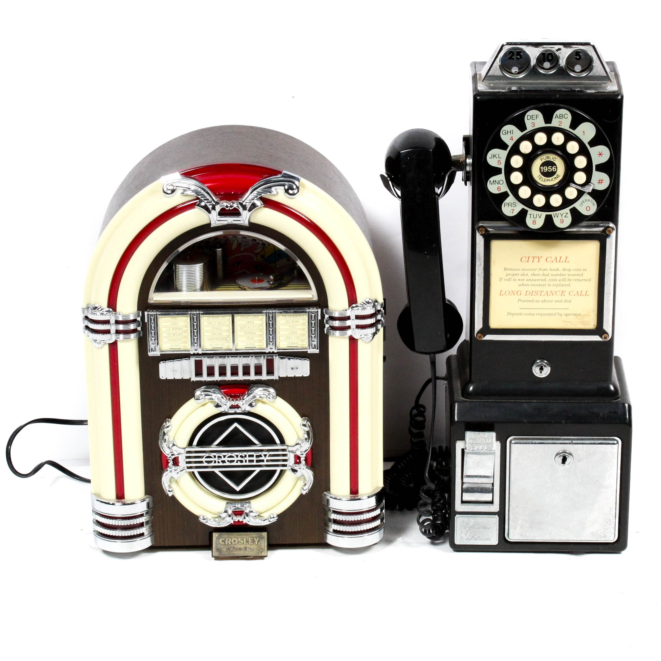 Juke Box Style Tape Deck and Rotary Style Telephone