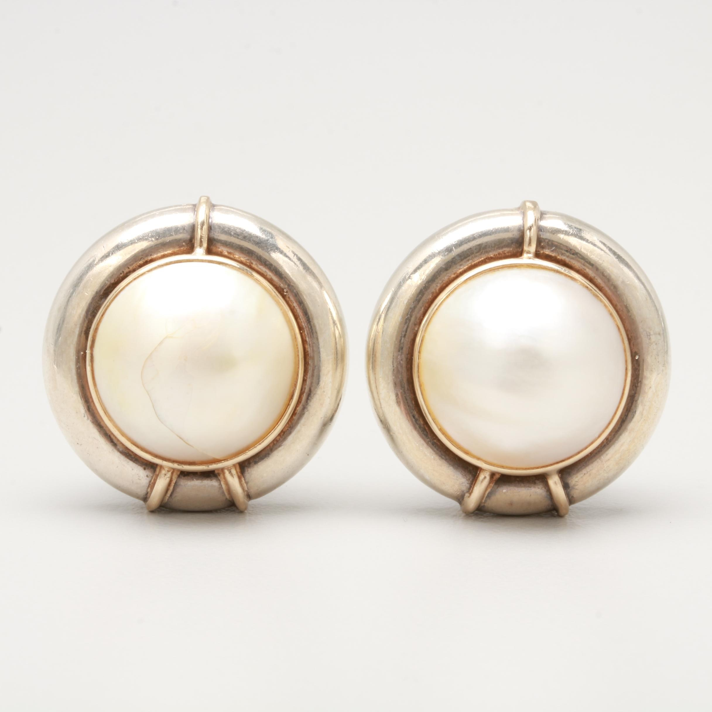 Sterling Silver Culture Pearl Earrings with 14K Yellow Gold Accents
