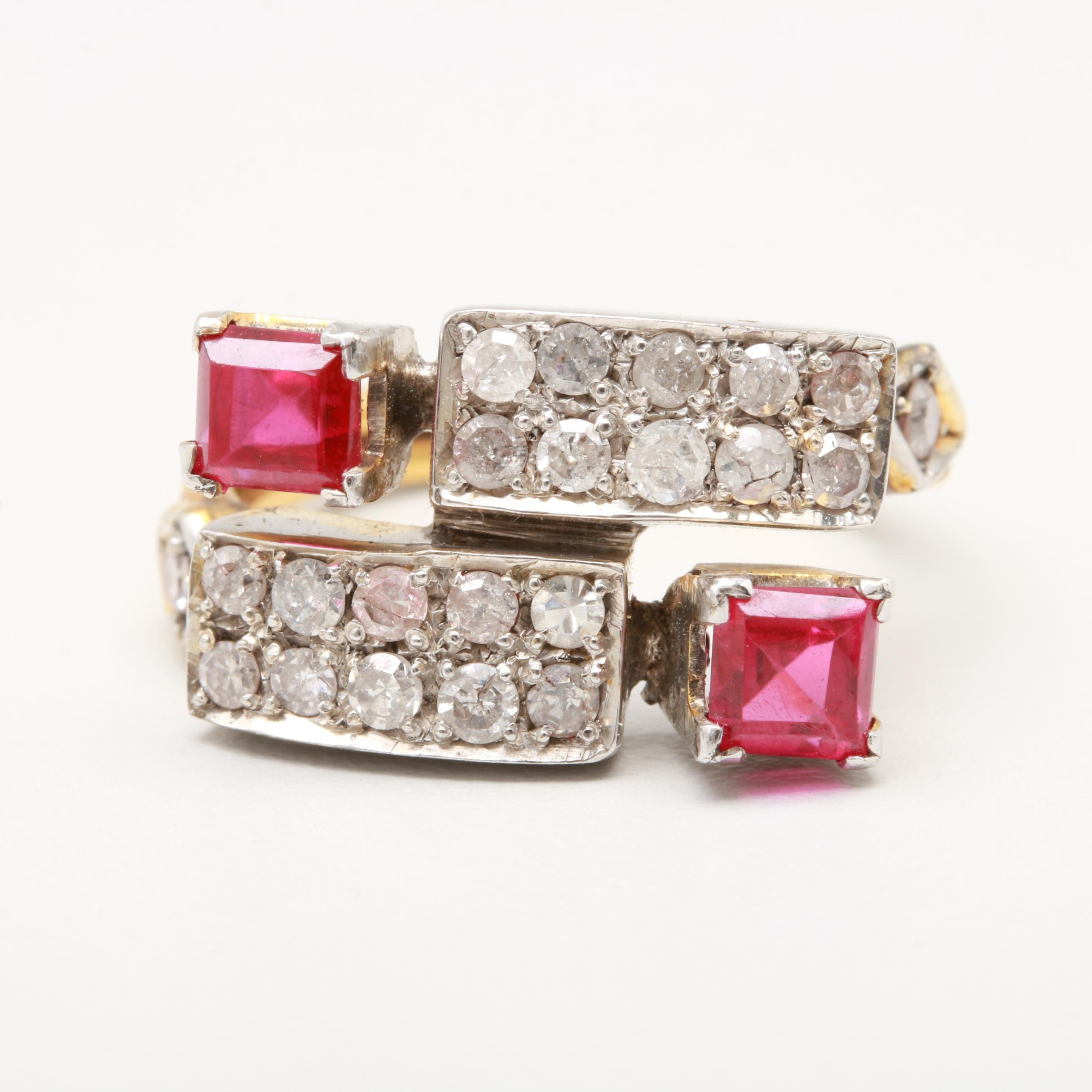 10K Yellow and White Gold Synthetic Ruby and Diamond Ring
