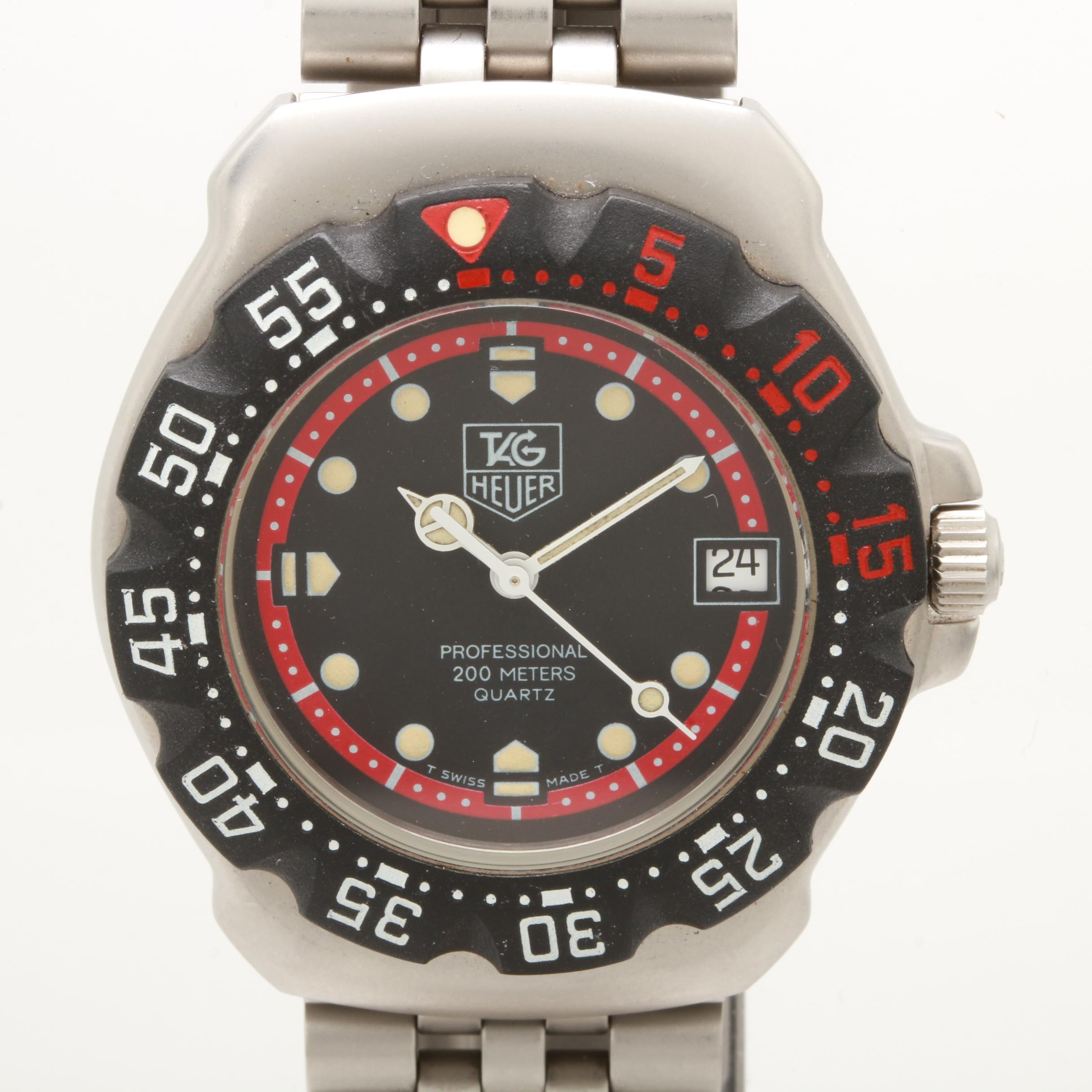 TAG Heuer Stainless Steel Black Dial Wristwatch with Unidirectional Bezel