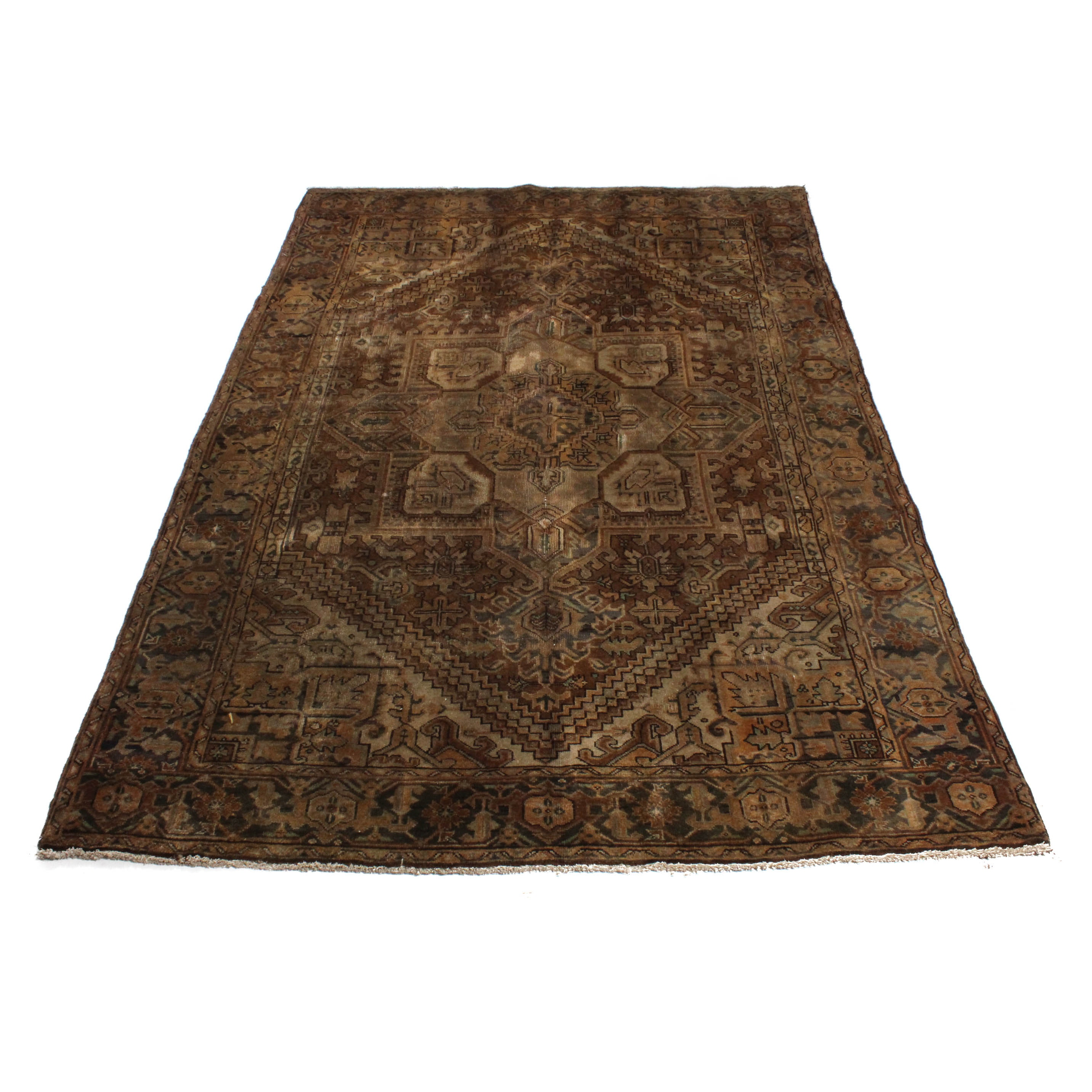 Antique Hand-Knotted Persian Heriz Area Rug