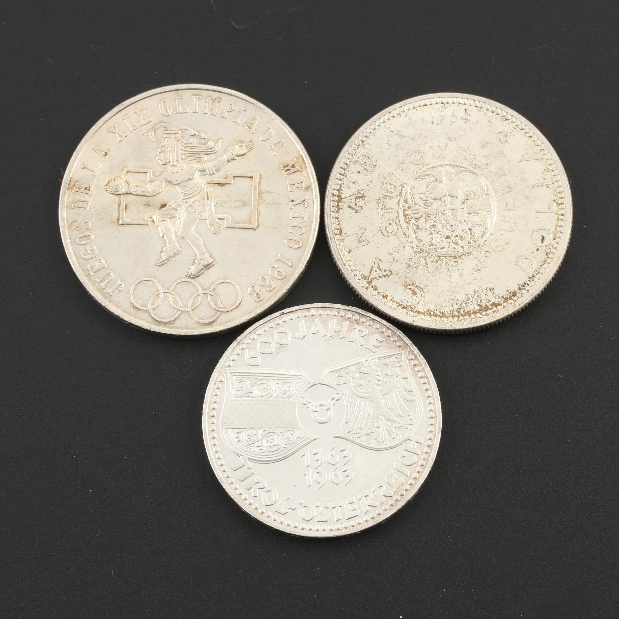 Group of Three Silver Foreign Coins