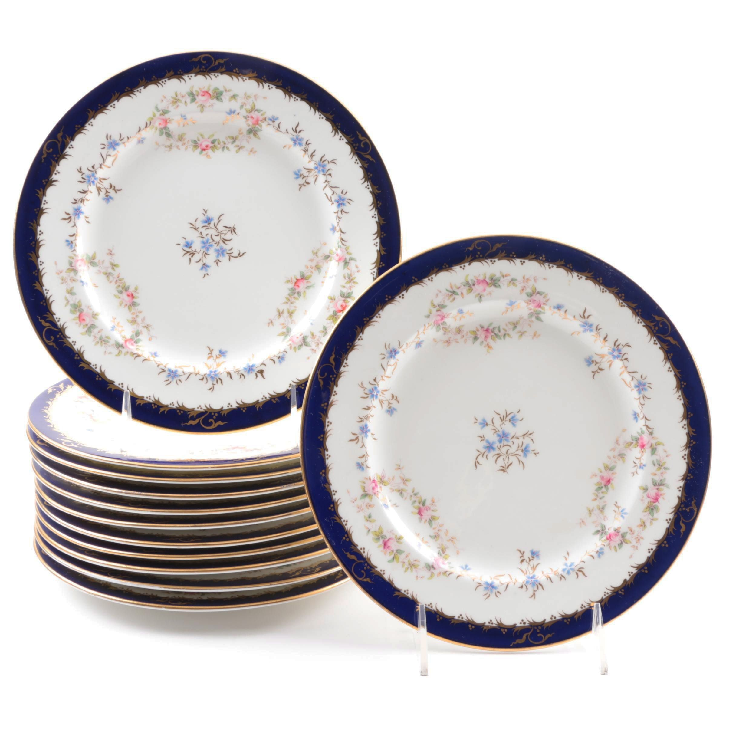 Set of Twelve Coalport China Dinner Plates for Tiffany & Co.
