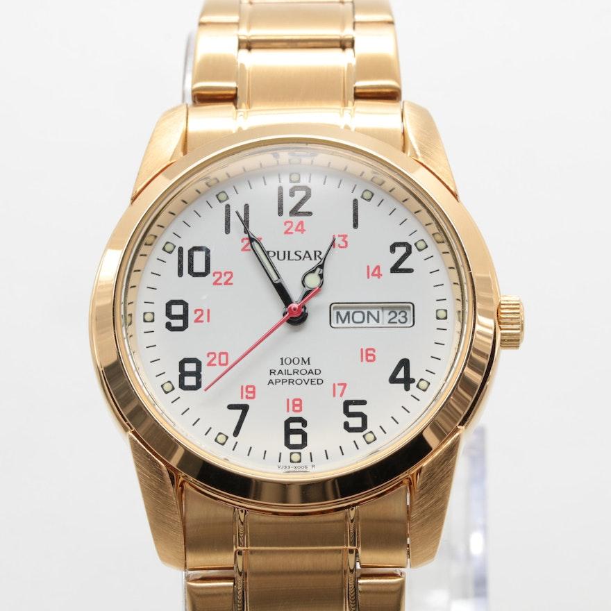 0ccb32c22e3 Pulsar Gold Tone Railroad Wristwatch