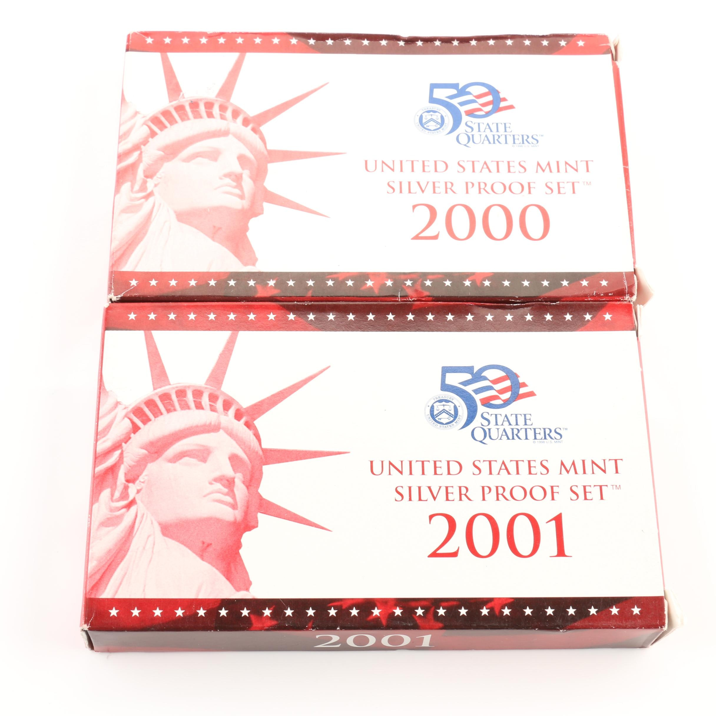 2000 and 2001 United States Mint Silver Proof Sets