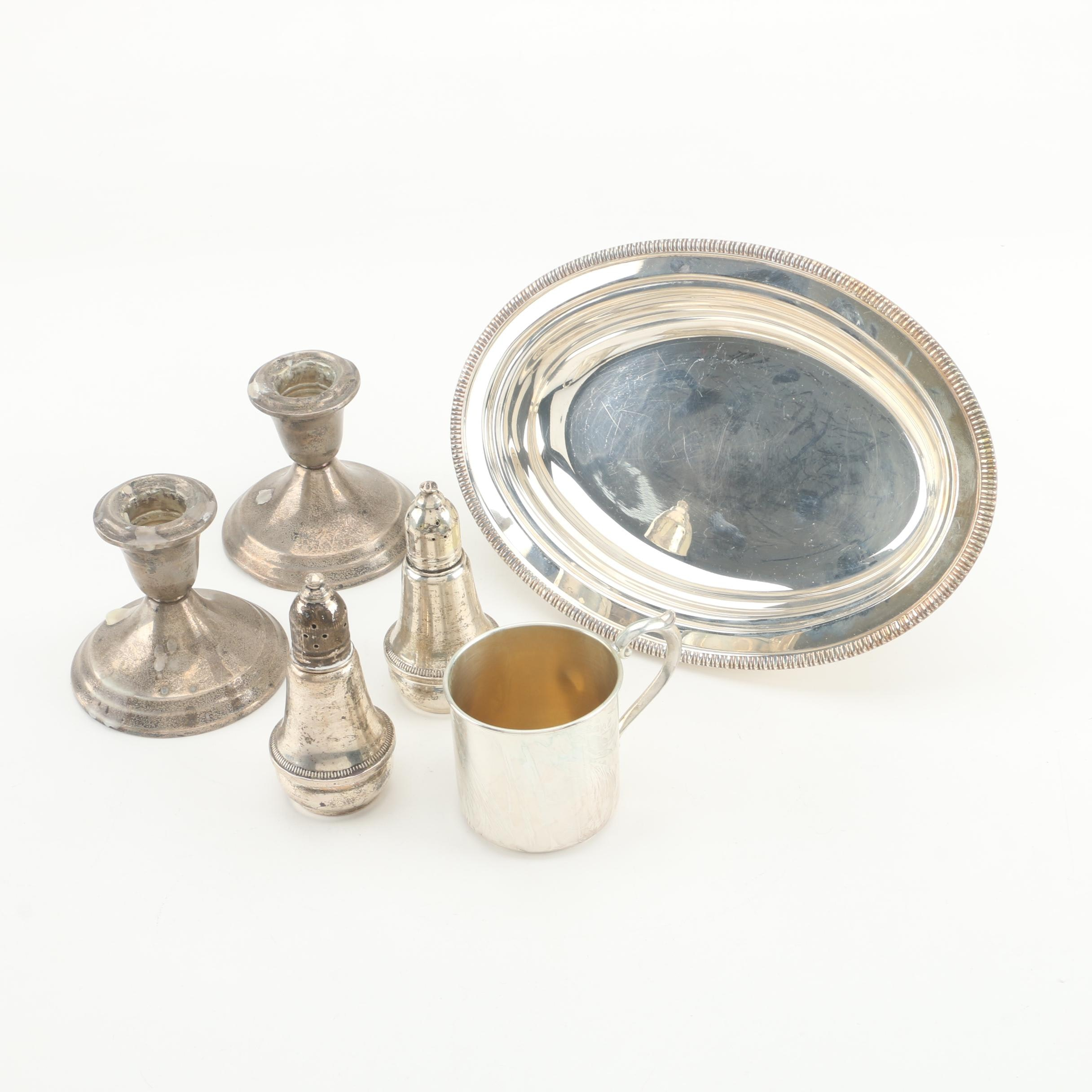 Gorham Baby Cup and Candleholders with Other Sterling and Silver Plate Tableware