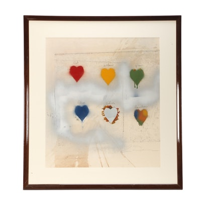 Jim Dine Limited Edition Embellished Lithograph of Hearts