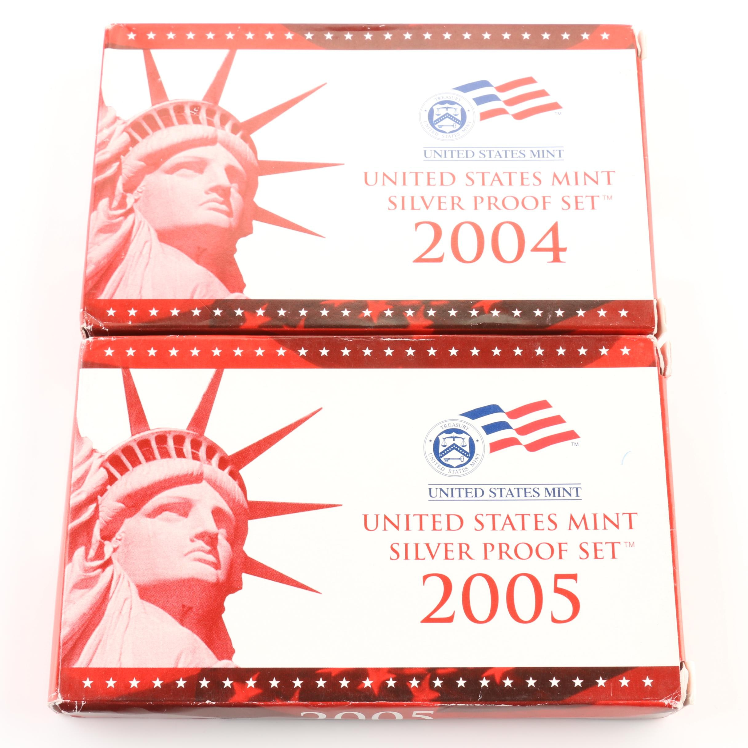 2004 and 2005 United States Mint Silver Proof Sets