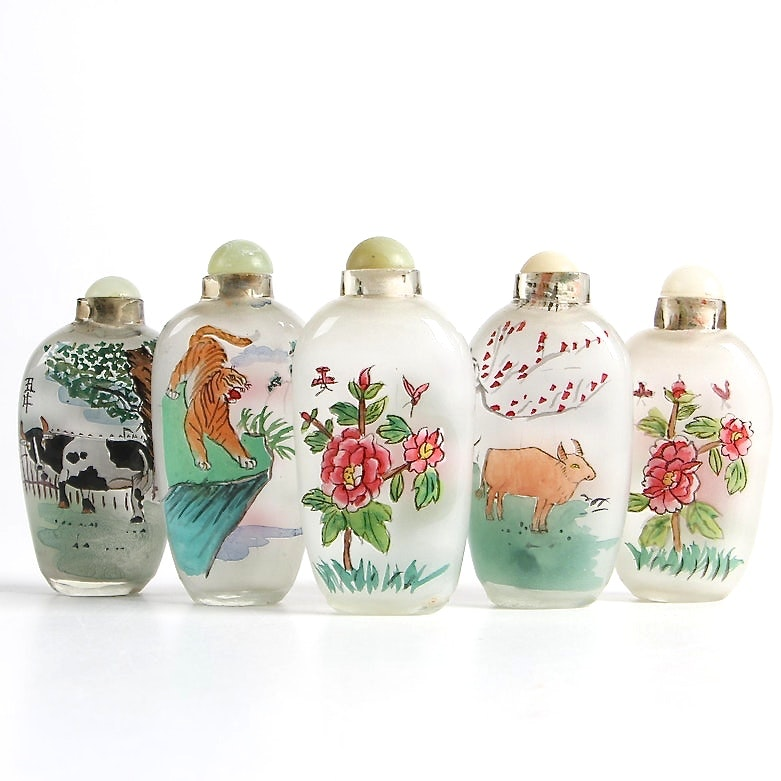 Chinese Reverse Painted Glass Snuff Bottles featuring Animal and Floral Designs