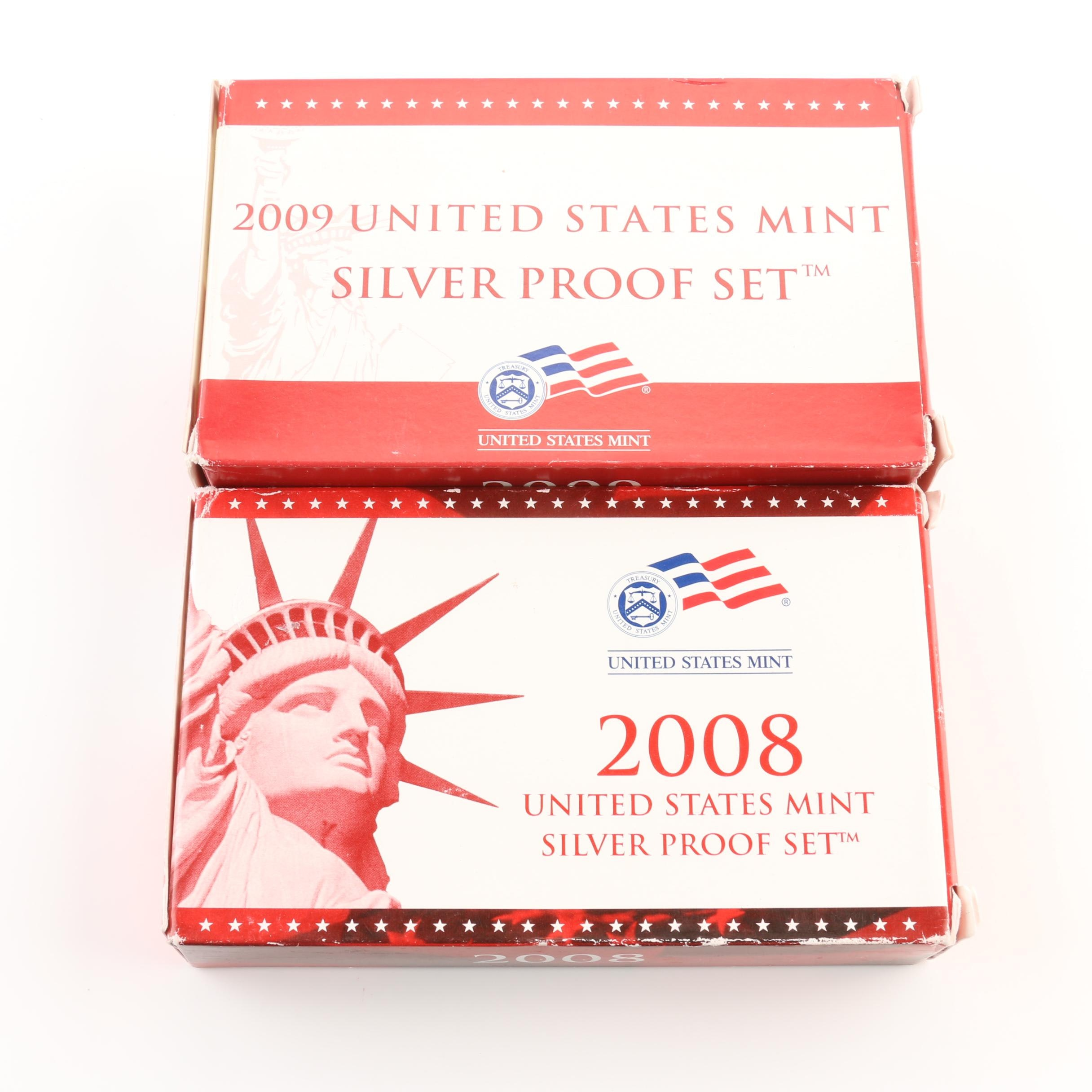 2008 and 2009 United States Mint Silver Proof Sets