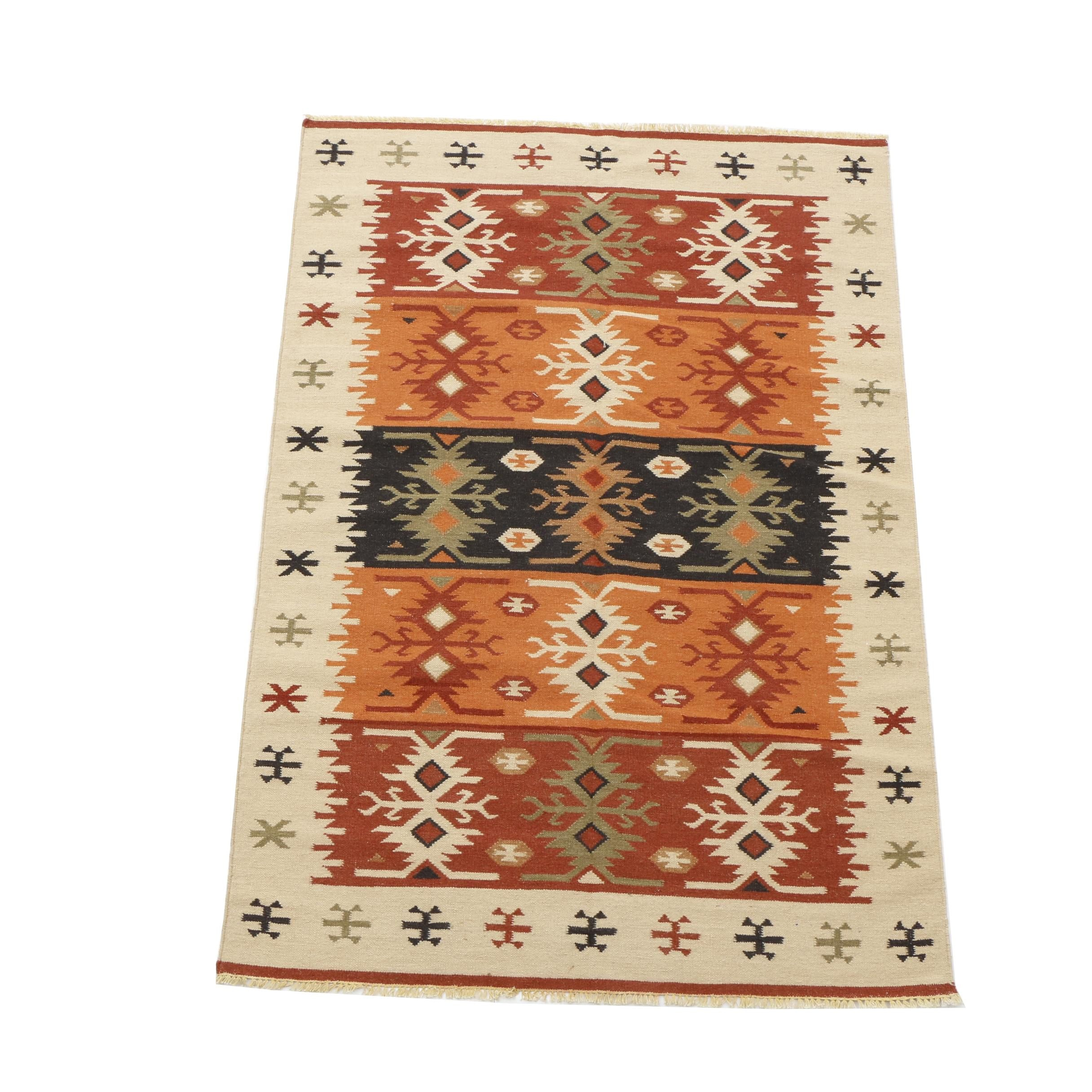 Vintage Handwoven Indian Wool Kilim
