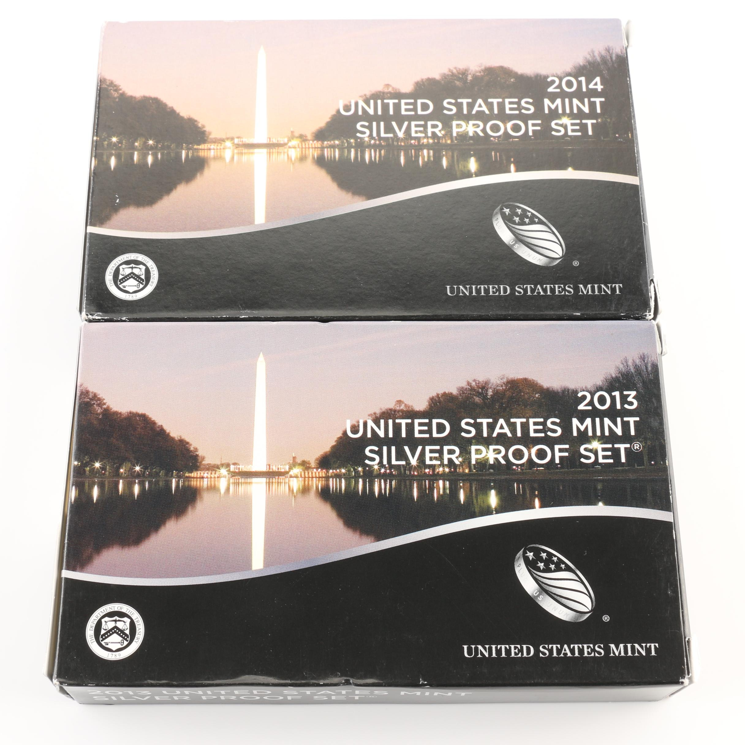 2013 and 2014 United States Mint Silver Proof Sets