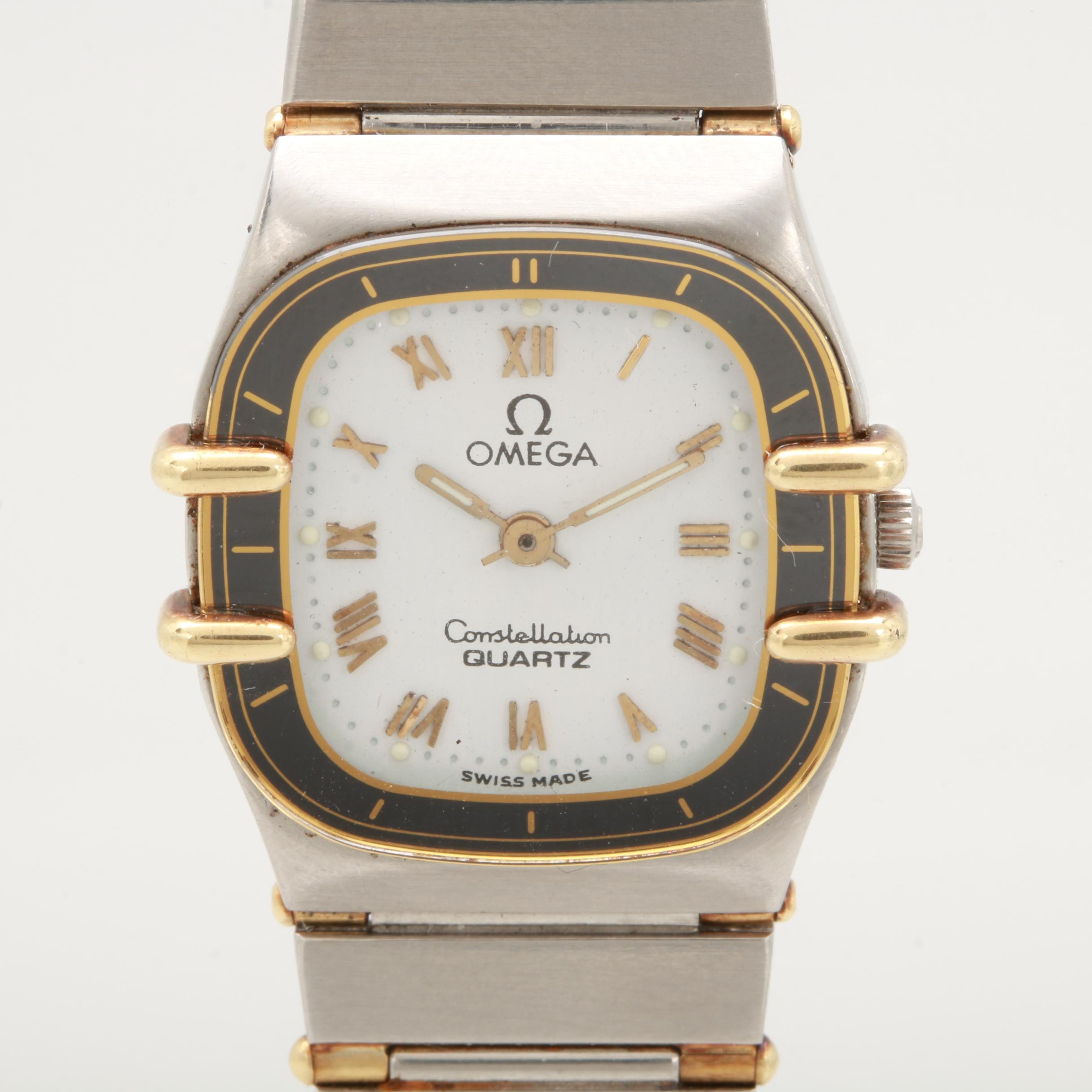 Omega Stainless Steel and 18K Yellow Gold Square White Dial Wristwatch