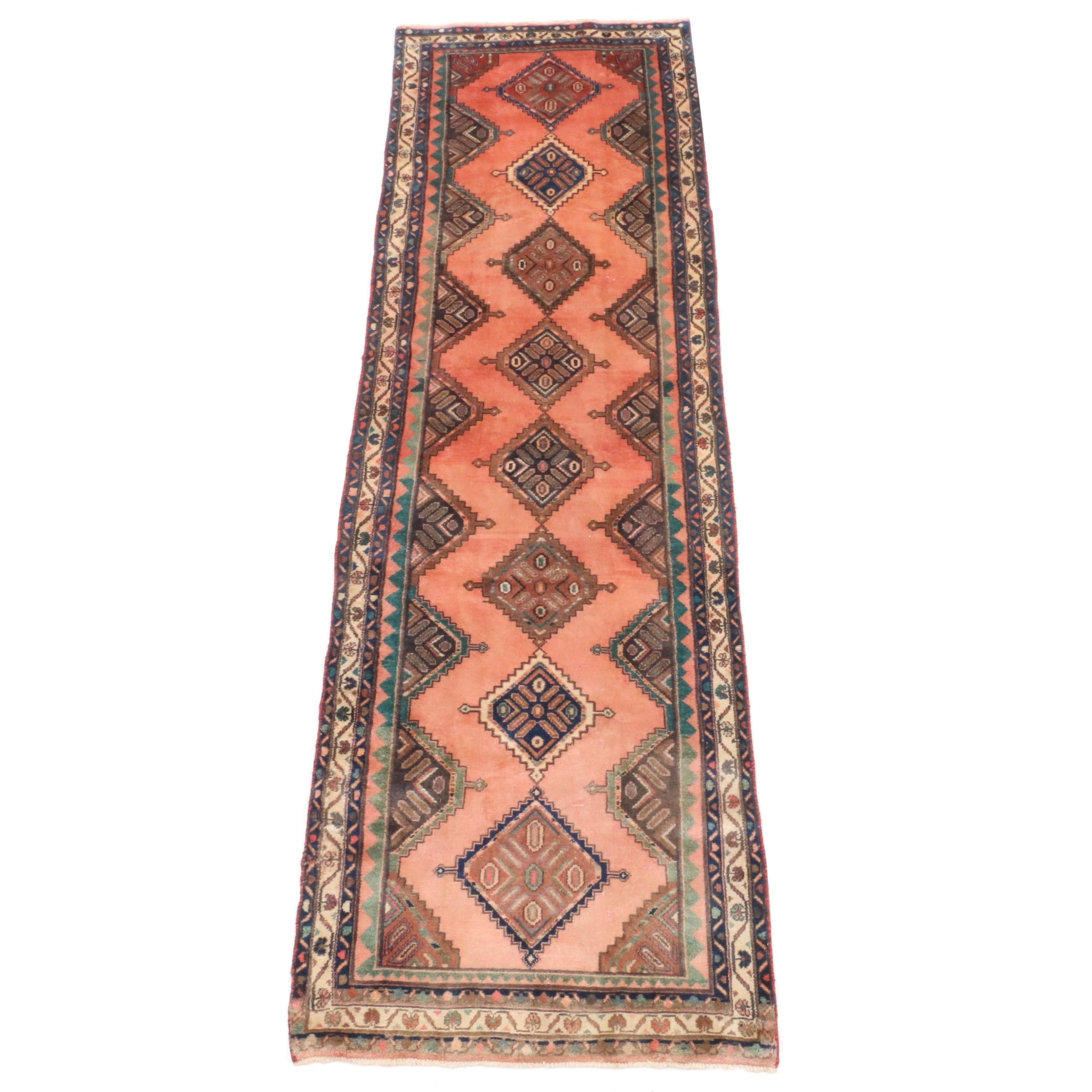 Hand-Knotted Persian Karaja Heriz Wool Carpet Runner
