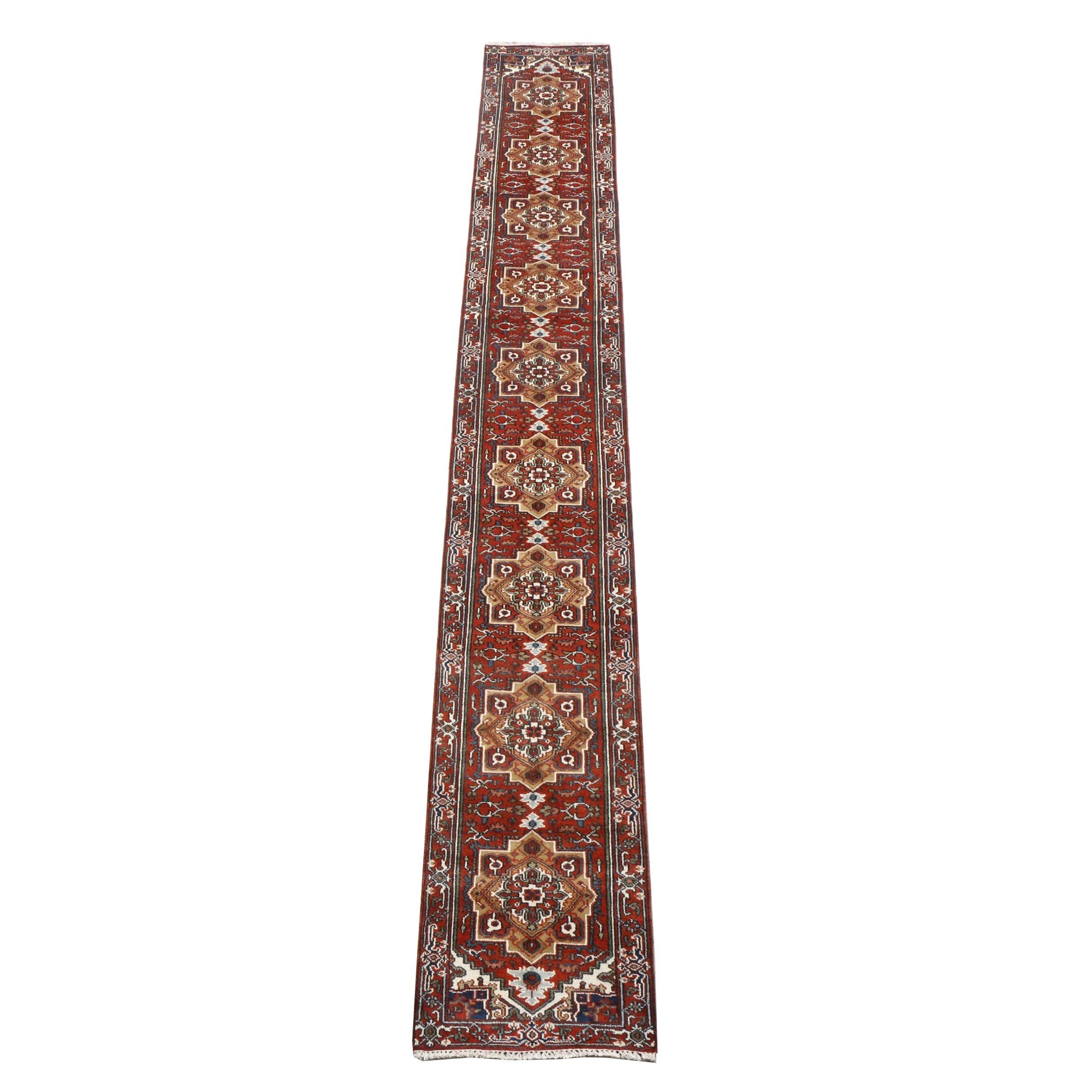 Hand-Knotted Bakhshayesh Heriz Wool Carpet Runner