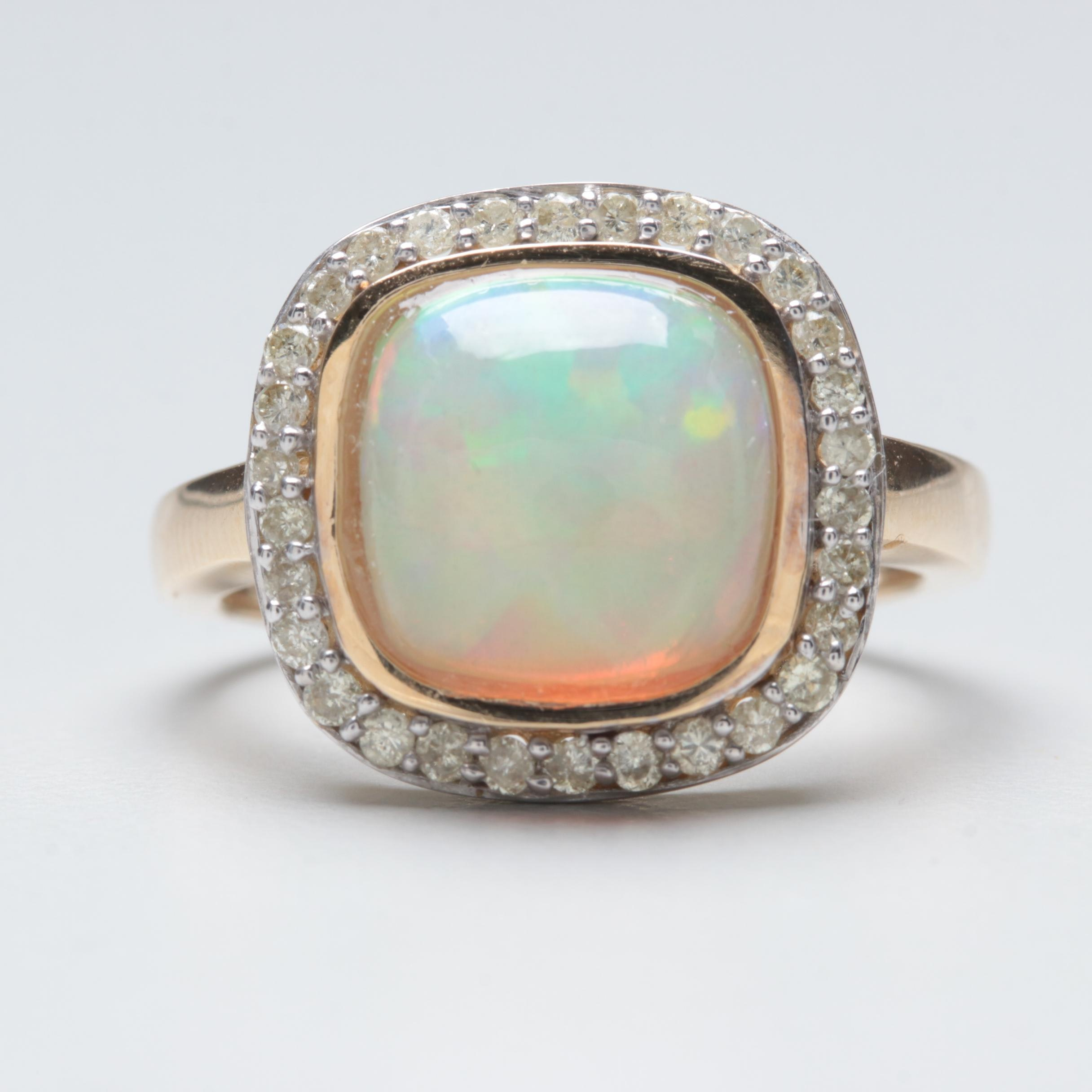 14K Yellow Gold Opal Cabochon and Diamond Ring