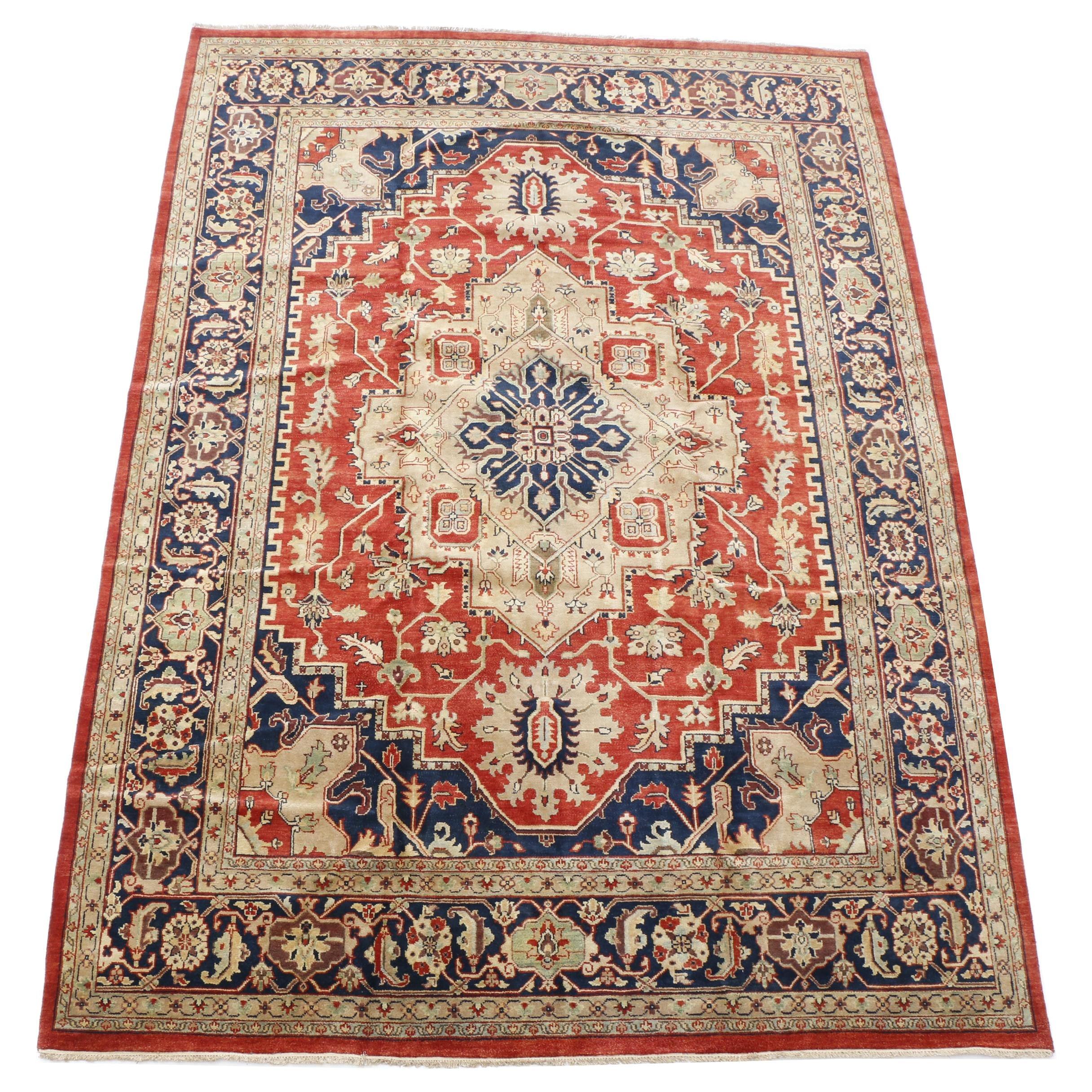 Hand-Knotted Bakshayesh Heriz Wool Room Sized Rug
