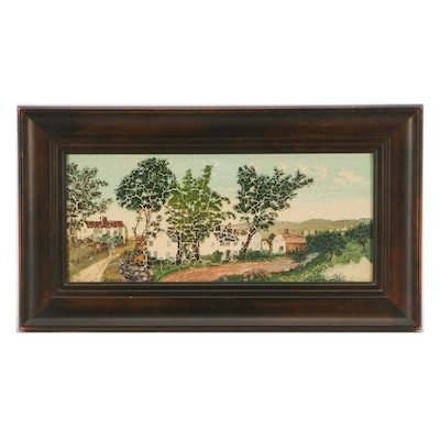 "Grandma Moses Oil Painting ""Village Scene"""