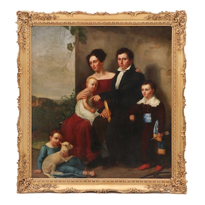 Joseph Anton Muxel 1824 Mural-Sized Family Portrait Oil Painting on Canvas
