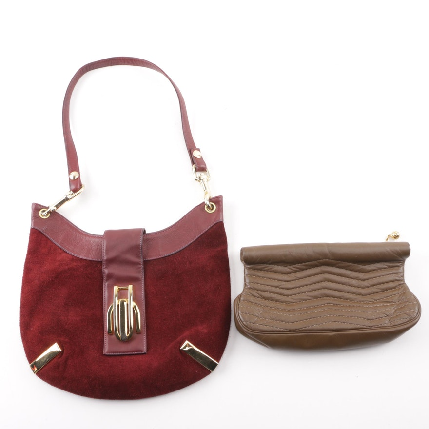 73a1013144e MM Capeskin Leather Clutch and Susan Gail Suede and Leather Shoulder Bag ...