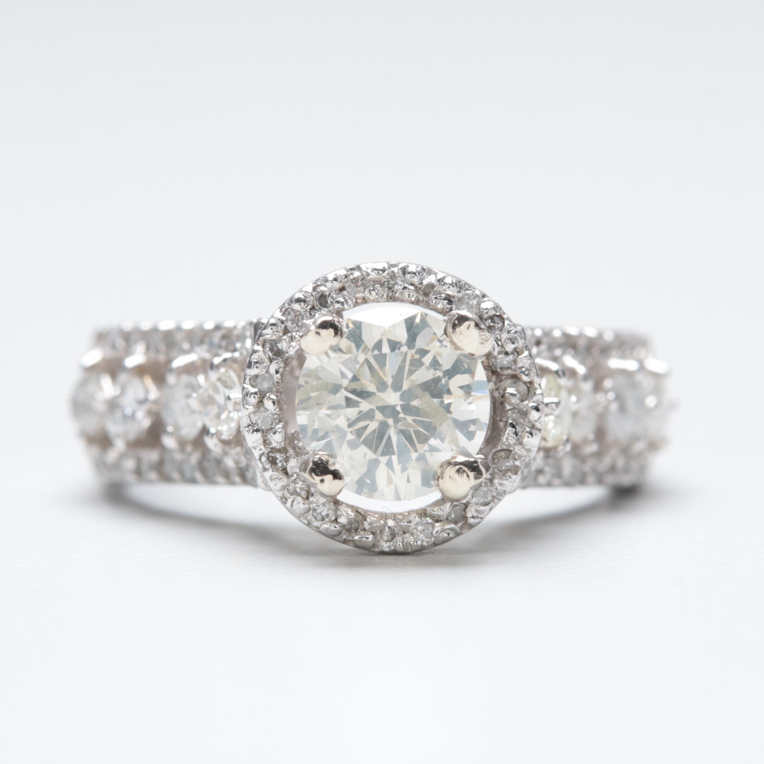 14K White Gold 1.70 CTW Diamond Ring