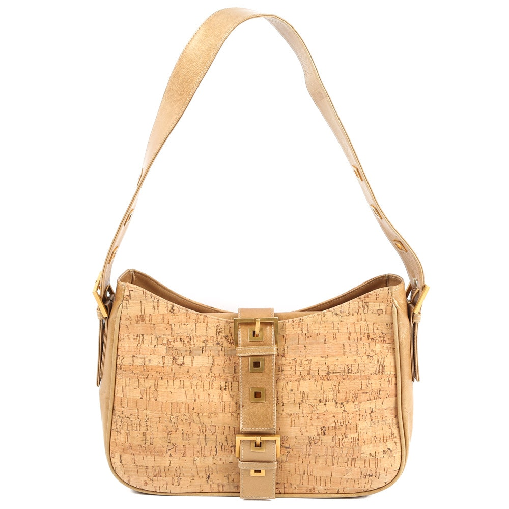 Vintage Stuart Weitzman Cork and Leather Shoulder Bag