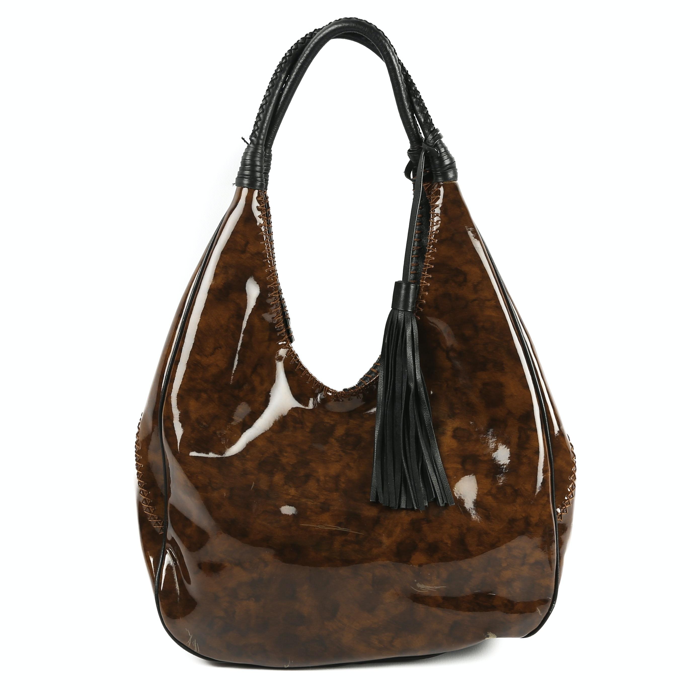 Donald J Pilner Patent Leather Hobo Shoulder Bag