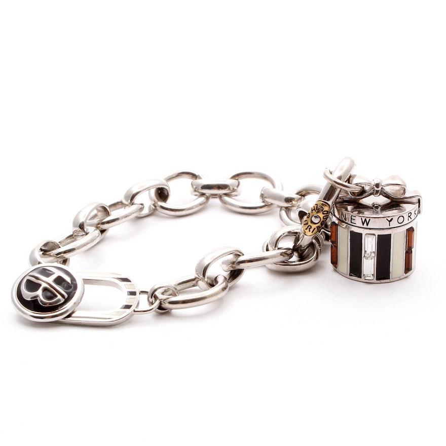 b9357f13d7ec1 Henri Bendel Silver Tone Gift Box Charm Bracelet