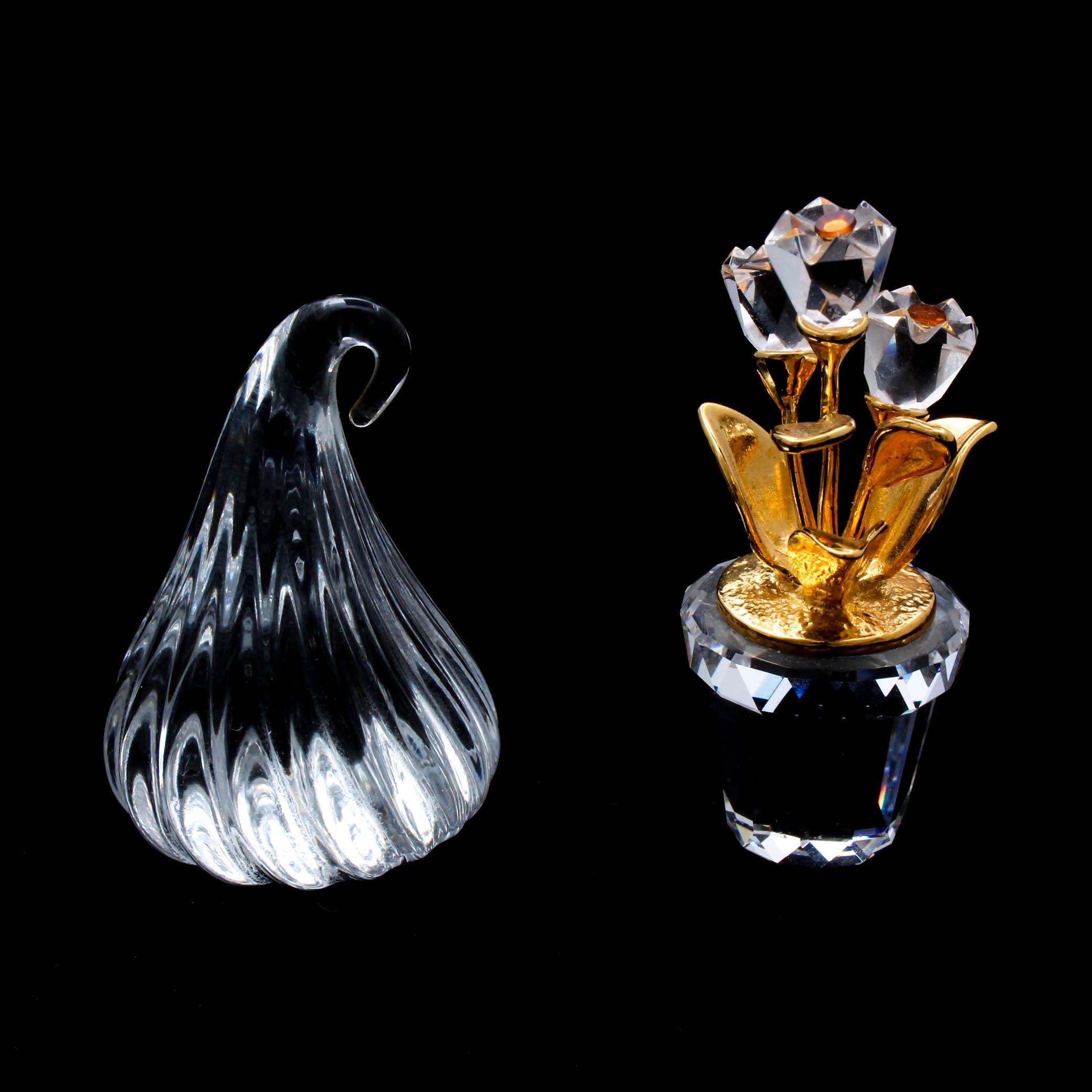 Swarovski Crystal Flower Figurine and Handblown Glass Chocolate Kiss