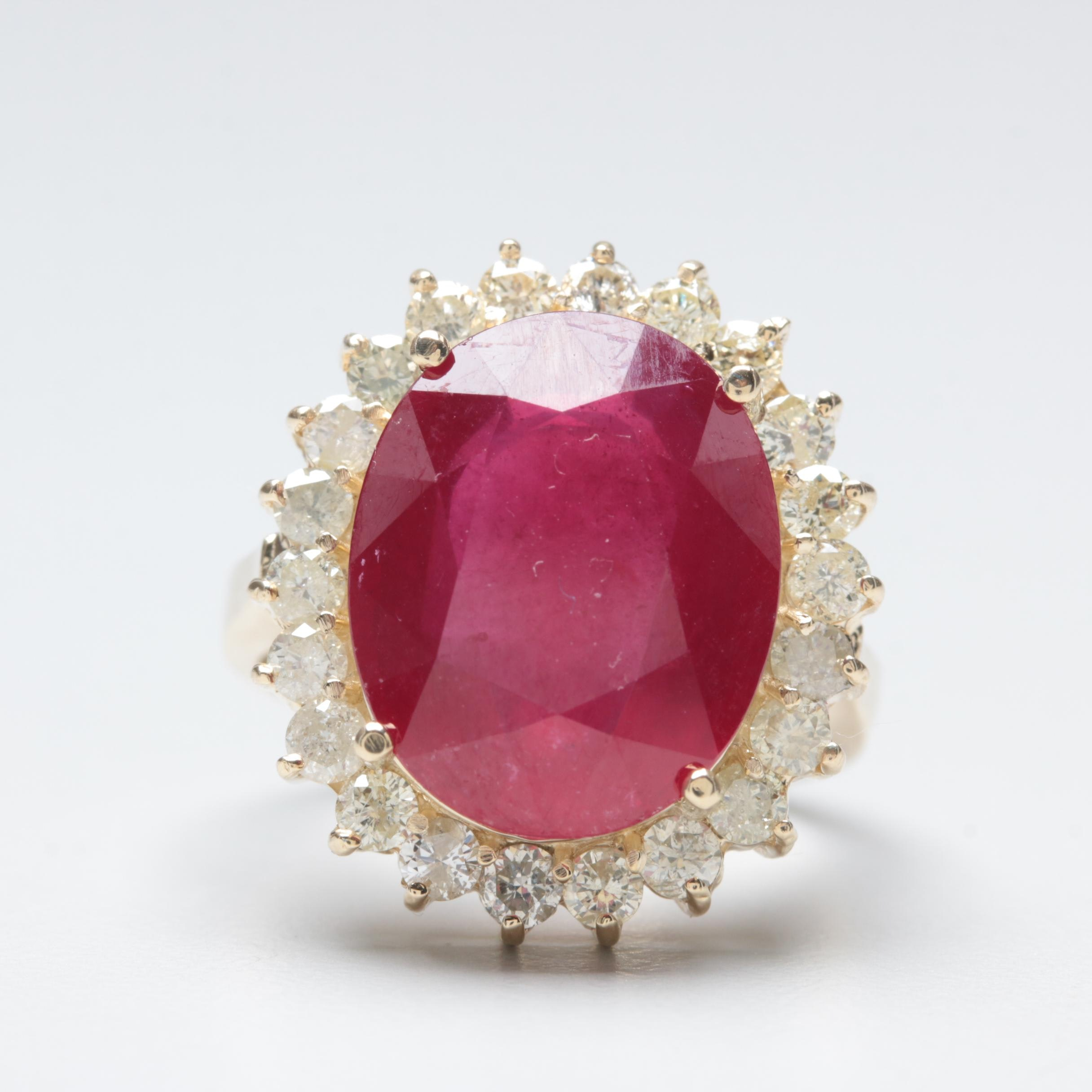14K Yellow Gold Composite Ruby and Diamond Ring