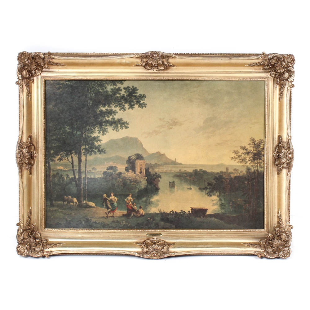 Vintage Ornately Framed Chromolithograph After Richard Wilson