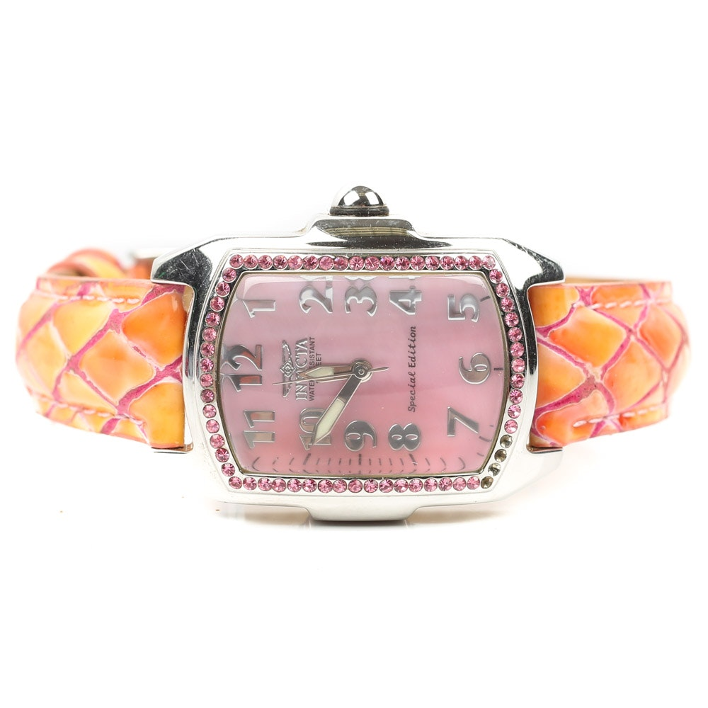 Invicta Special Edition Stainless Steel and Pink Crystal Wristwatch
