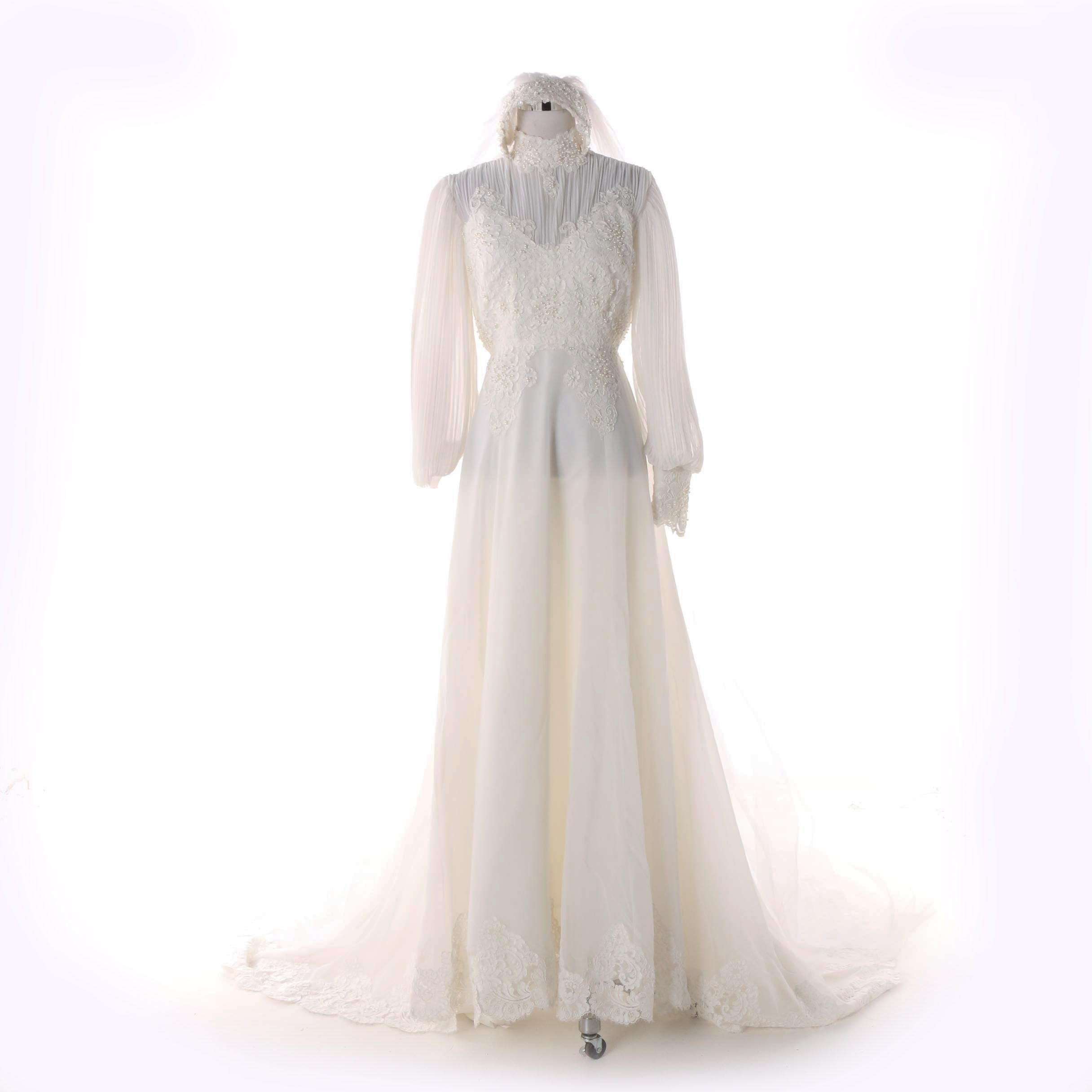 Floral Soutache and Faux Pearl Wedding Gown with Chapel-Length Veil