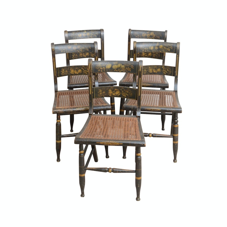 five hand painted antique hitchcock style chairs with cane seats ebth. Black Bedroom Furniture Sets. Home Design Ideas
