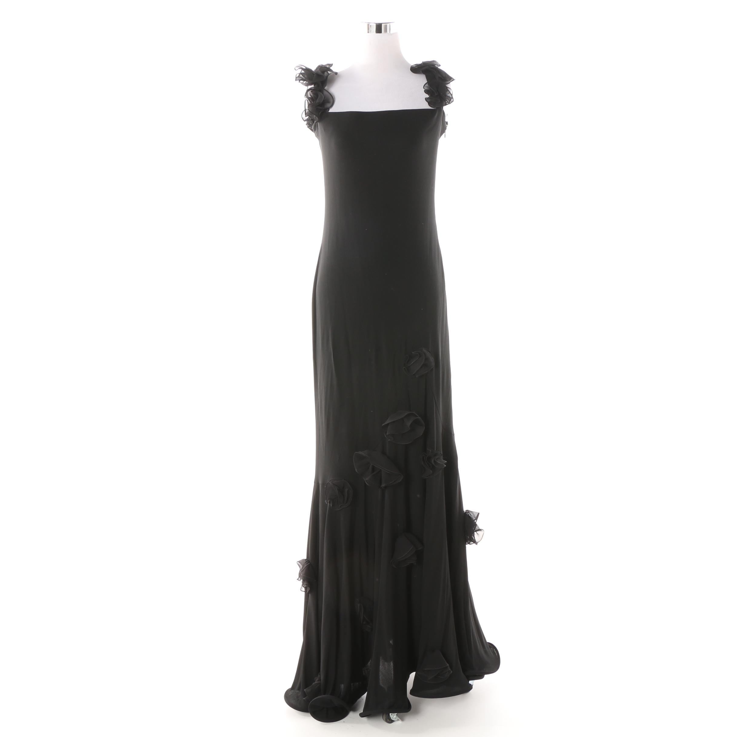 Frivole Black Sleeveless Evening Dress with Applied Fabric Rosettes
