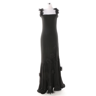 1b549750d497 Frivole Black Sleeveless Evening Dress with Applied Fabric Rosettes