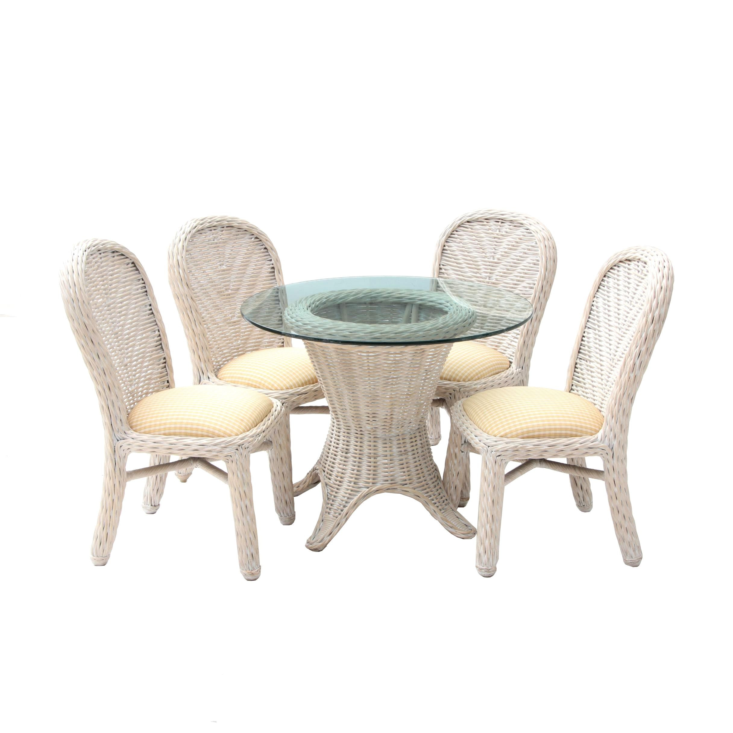 Palecek Wicker Weave Glass Top Table with Side Chairs