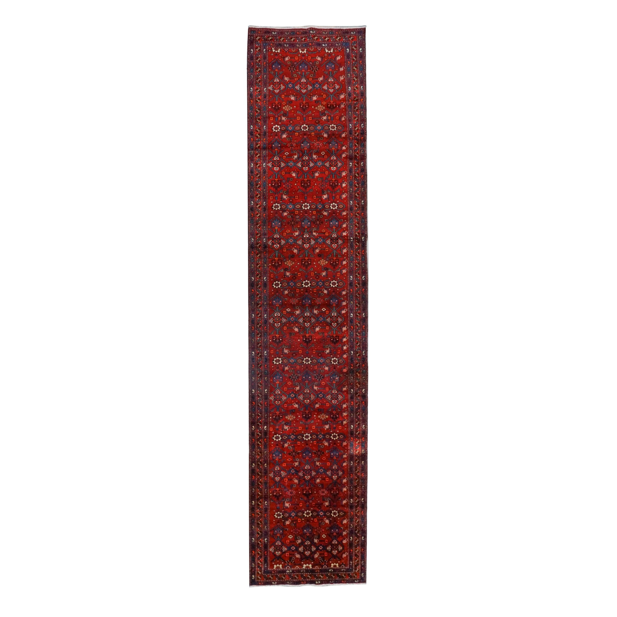Hand-Knotted Persian Hamadan Wool Palace Sized Runner