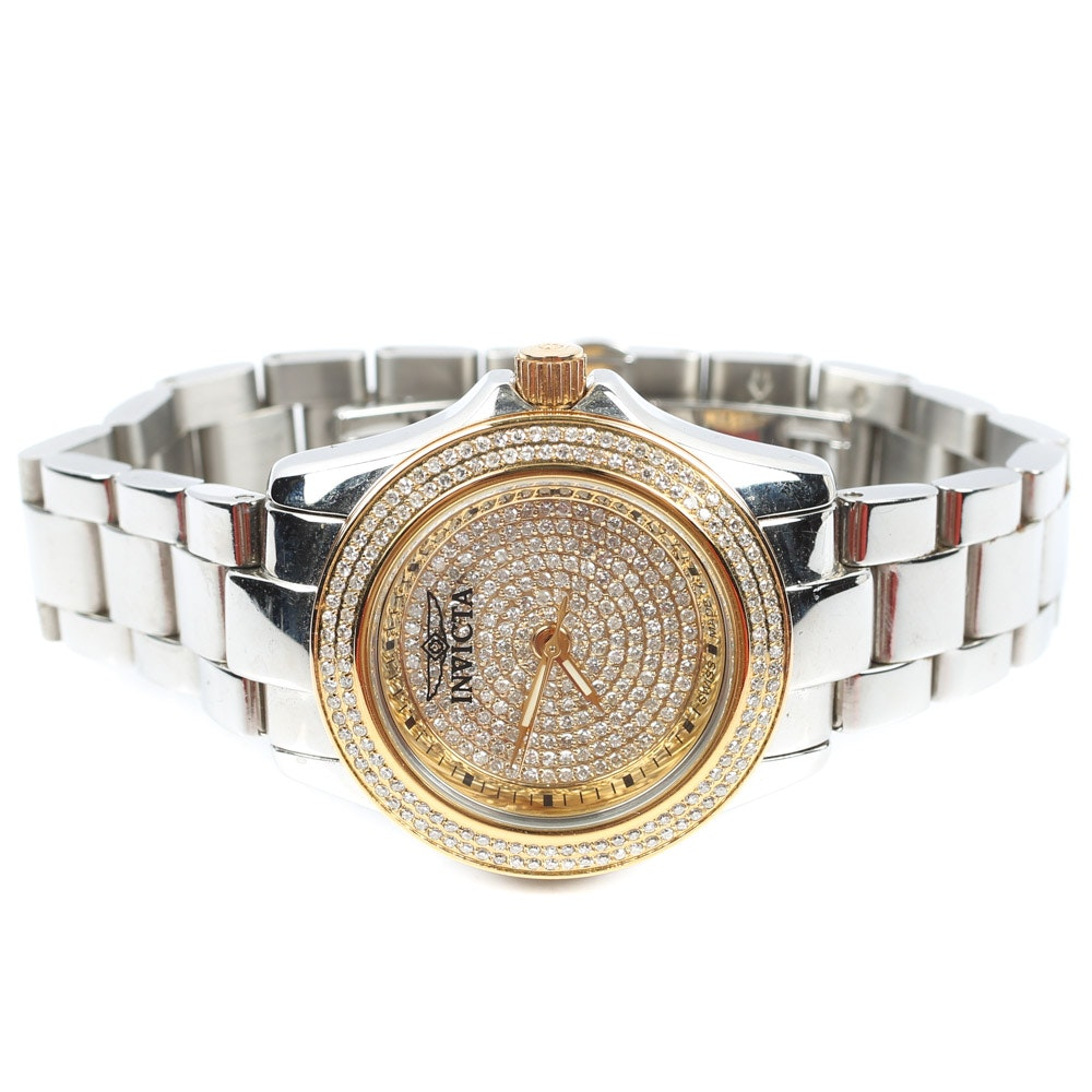 Invicta Diamond Stainless Steel Water Resistant Wristwatch