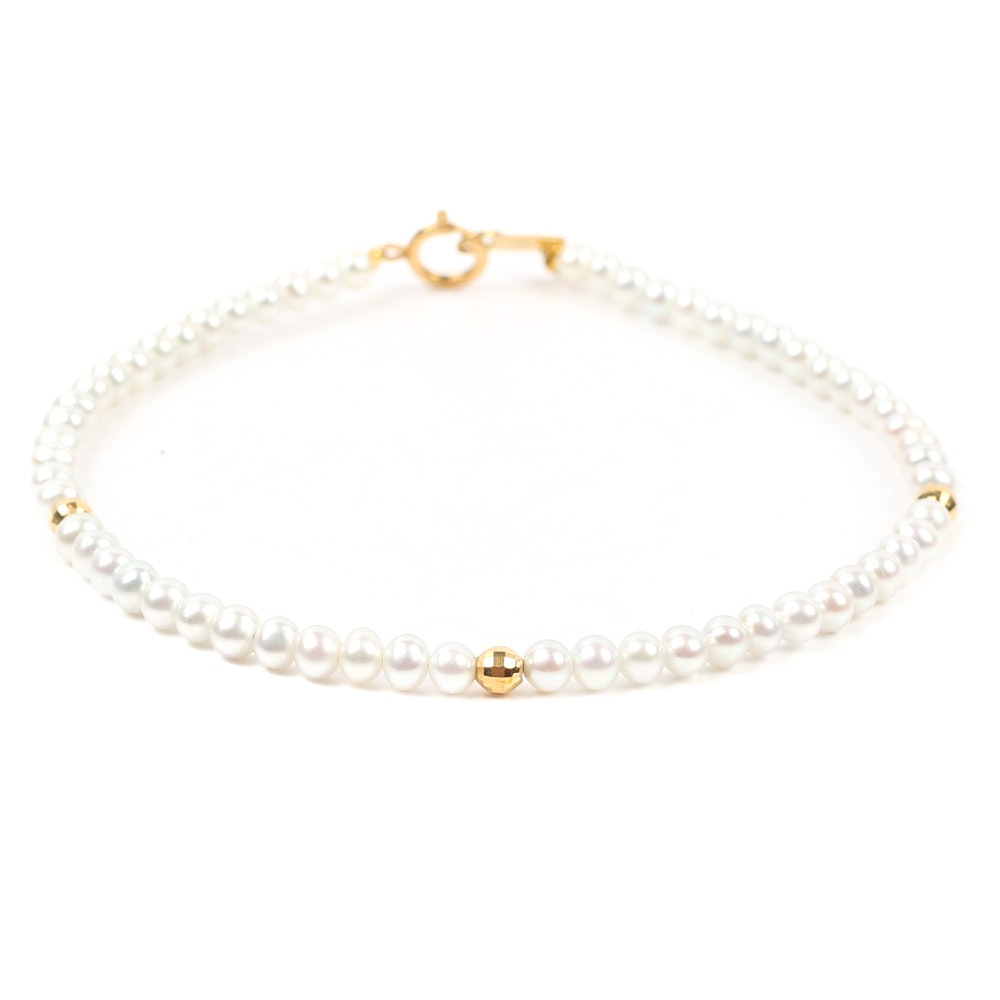 18K Yellow Gold Cultured Pearl Bracelet