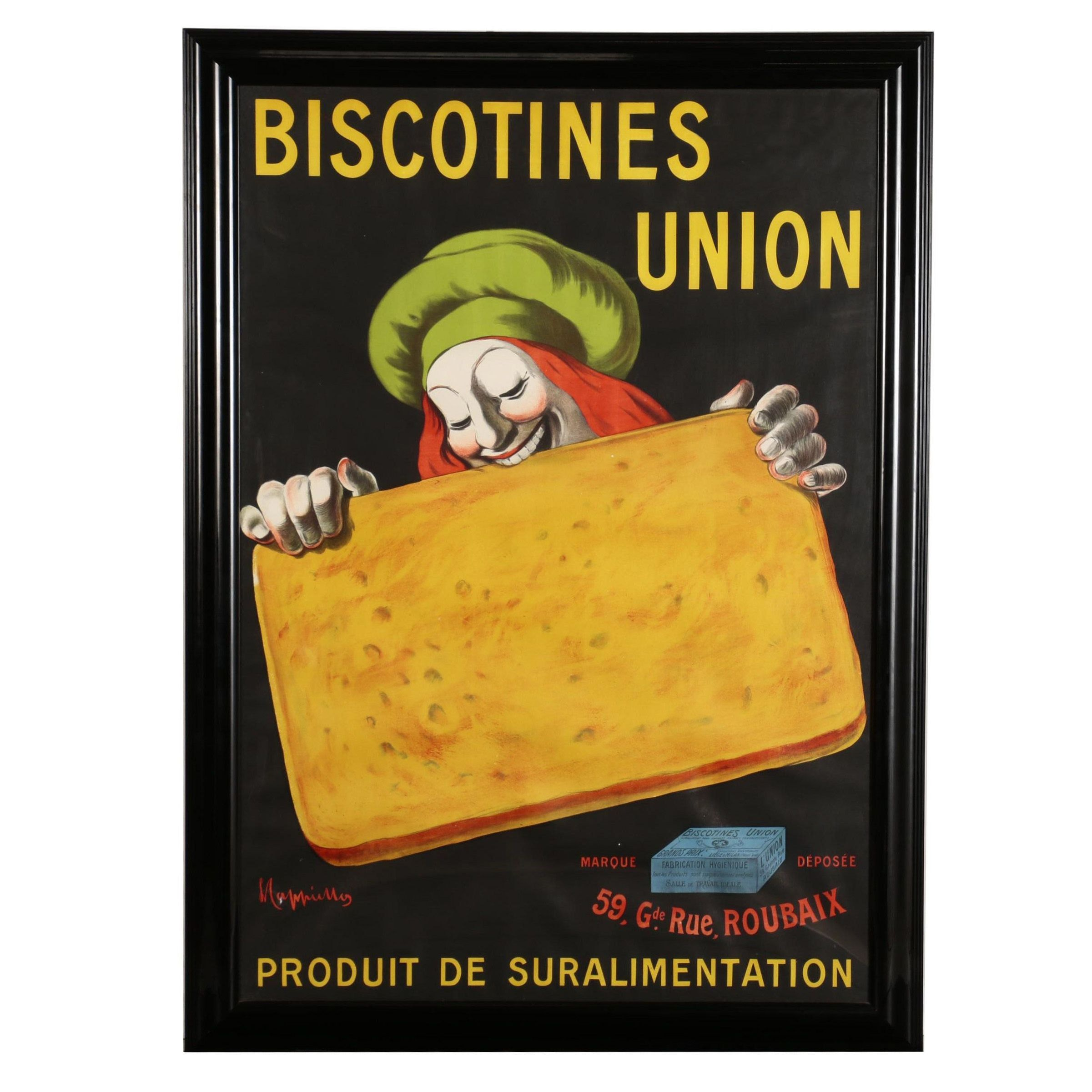"Lithograph Poster after Leonetto Cappiello ""Biscotines Union"""
