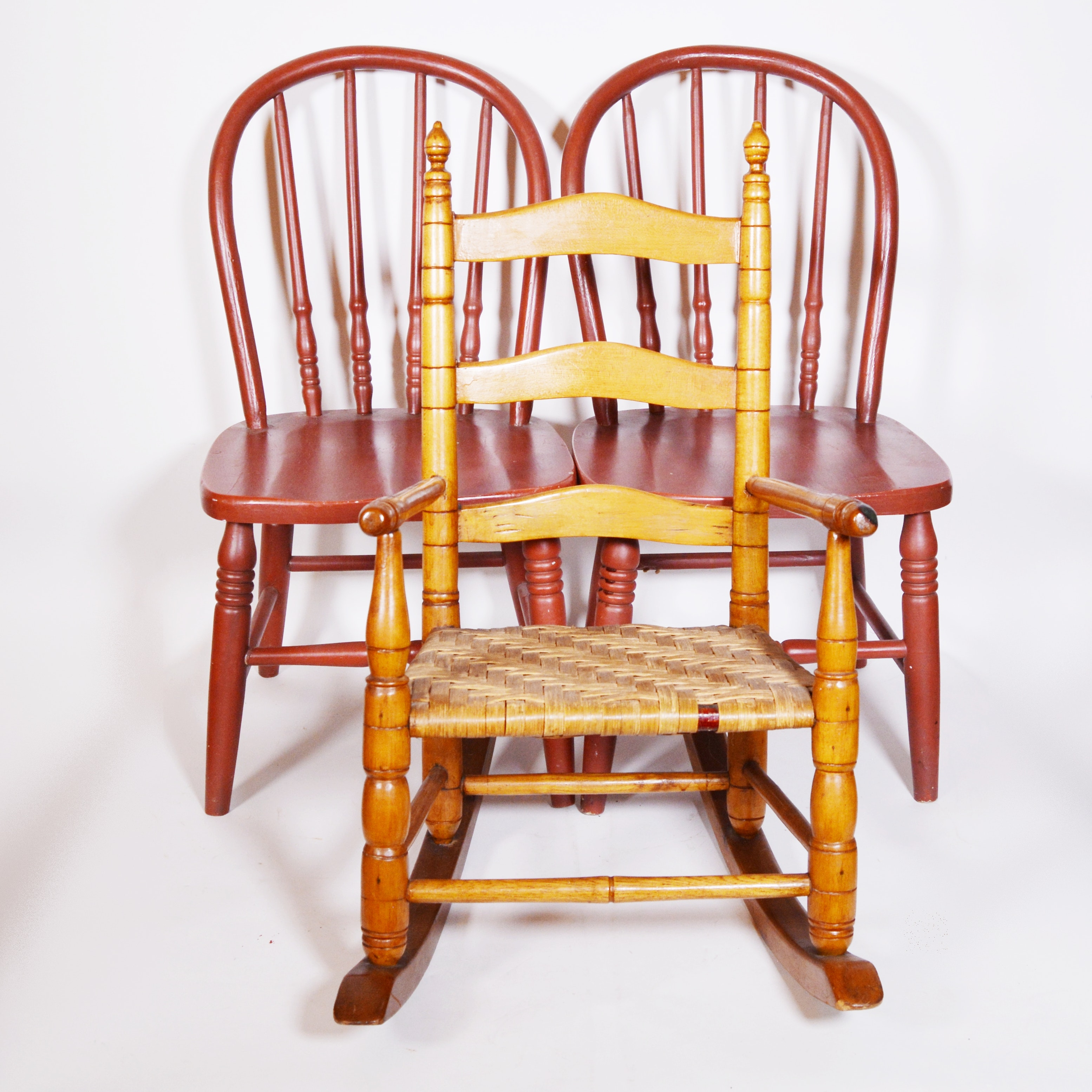 Child's Rocking Chair and Pair of Side Chair, 19th/20th Century