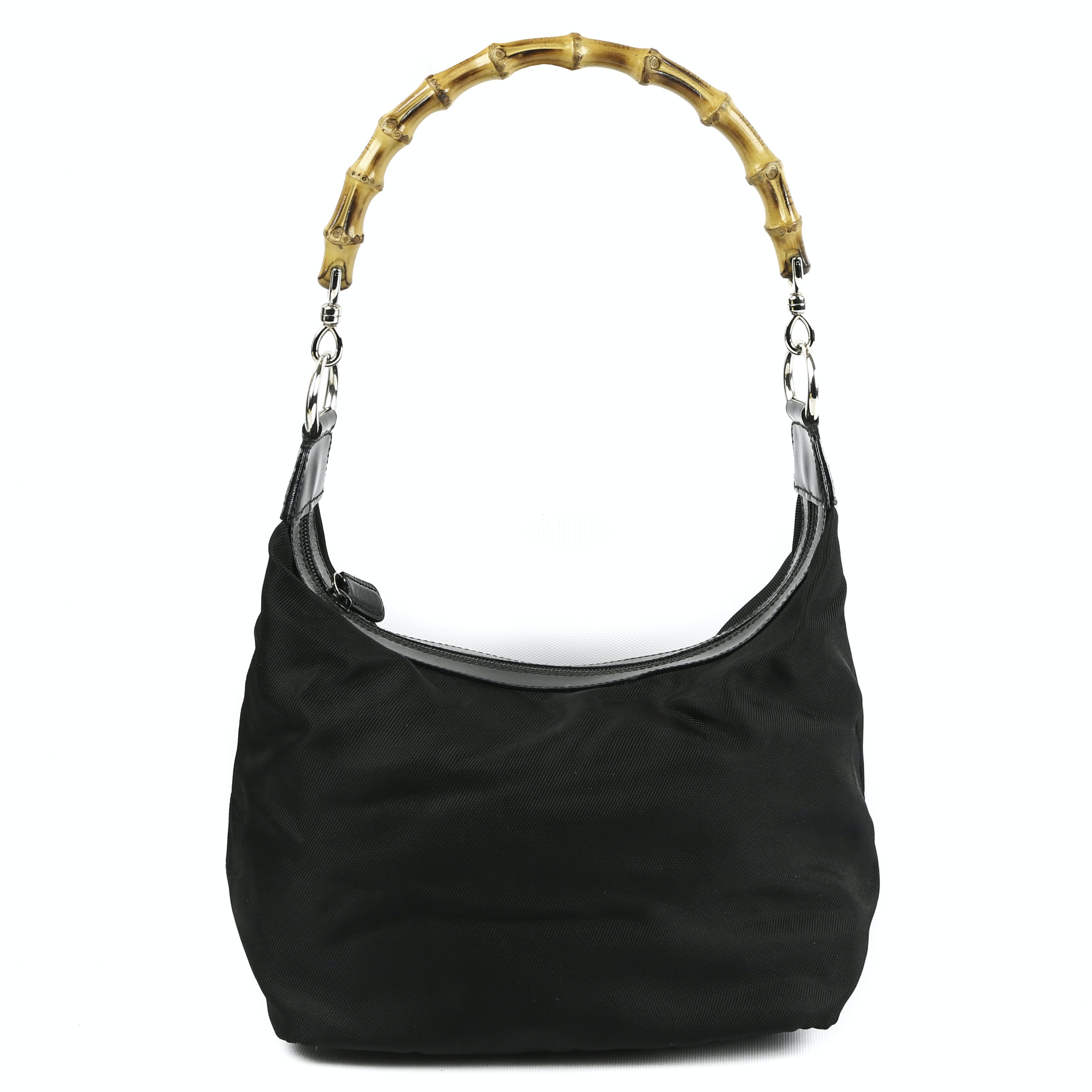 Gucci Black Nylon and Leather Bamboo Handle Bag