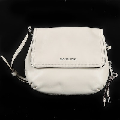 61bee438a21c MICHAEL Michael Kors Isabel Small Messenger White Leather and Python Print  Bag