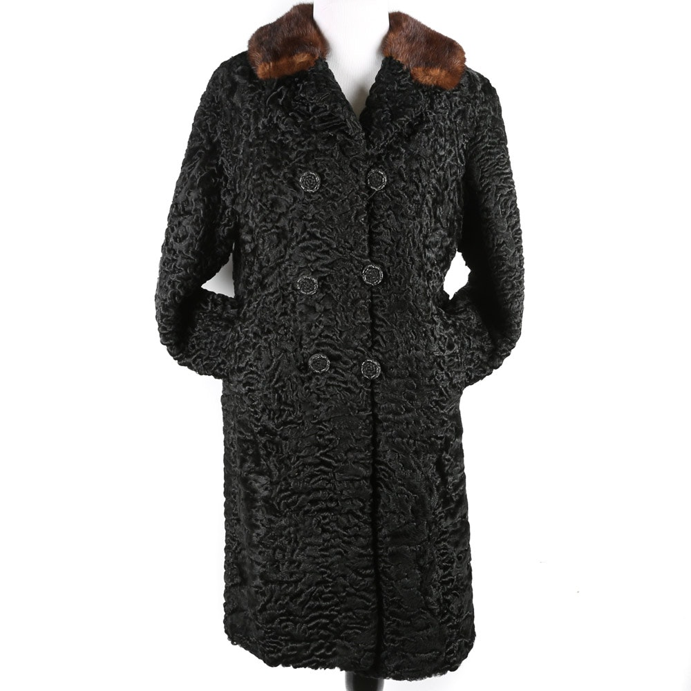 Women's Vintage Persian Lamb Bridge Coat with Mink Fur Collar