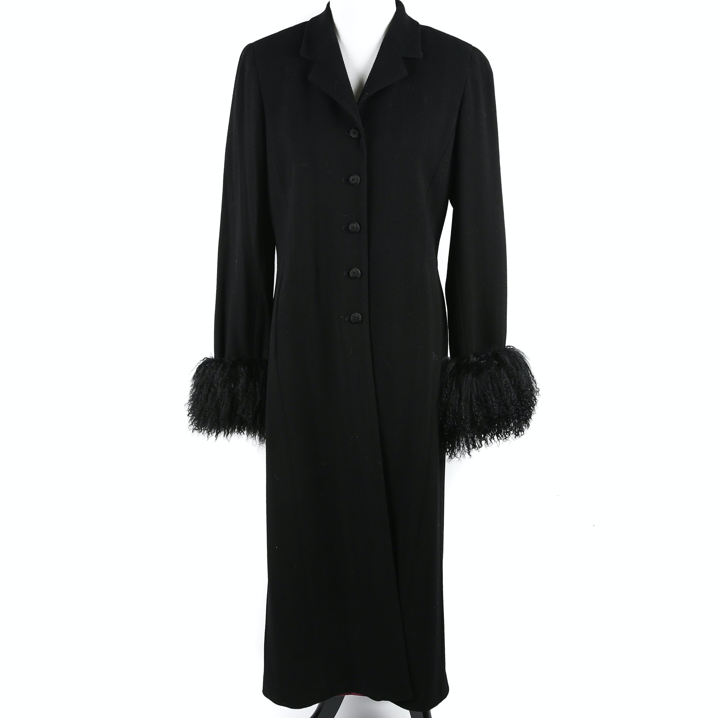 Vintage Juliana Collezione Fur Cuffed Wool Coat