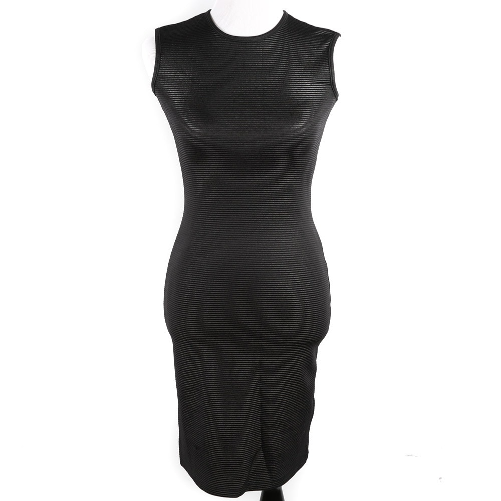 Christian Siriano New York Black Stretch Knit Bodycon Dress